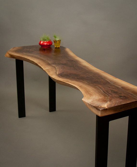 CONSOLE TABLES Live Edge Wood Console Tables And