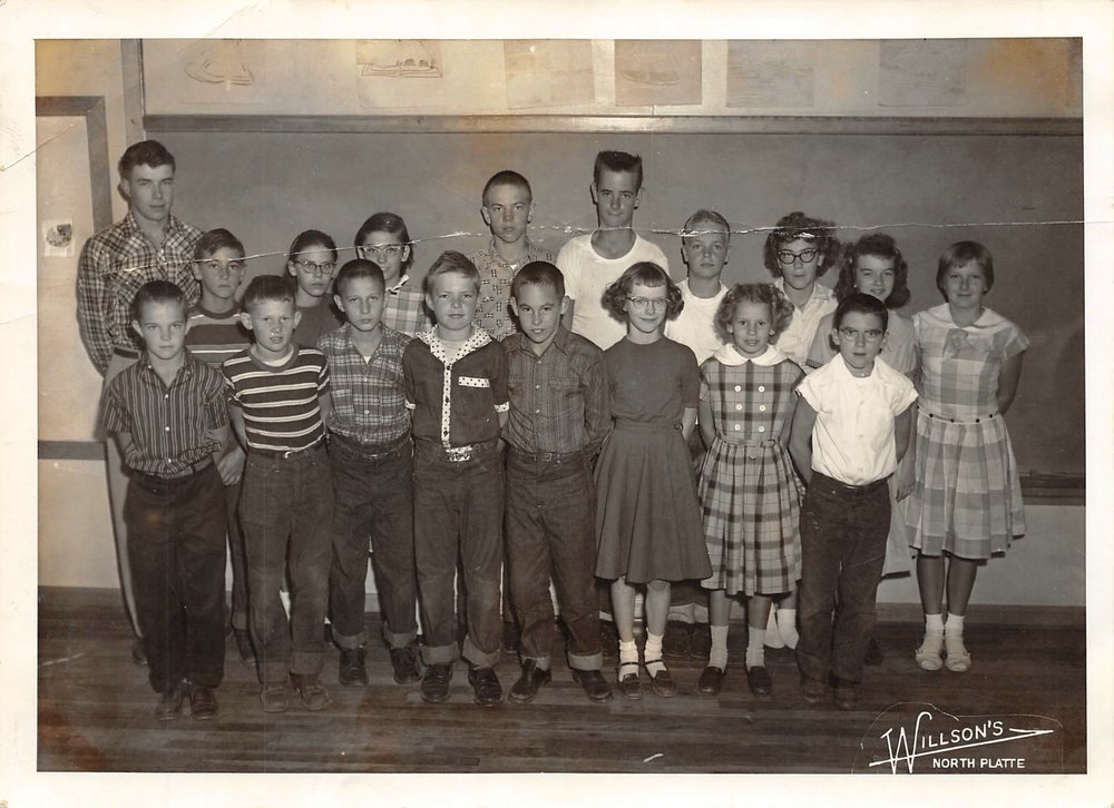 1957 Mr. Ackles'  Hall Country School Class.jpg