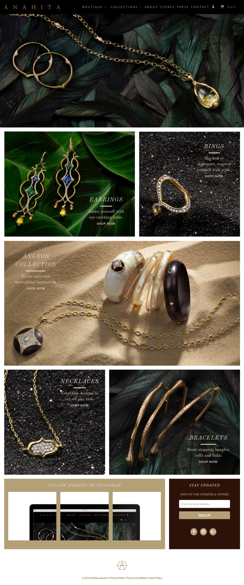 ANAHITA     Website copy, product naming    New-York based jewelry designer Anahita Stein was in need of a full overhaul of her website, complete with fresh brand identity copy. Her 120+ piece was broken down into collections, which needed memorable names that paid tribute to their unique design inspiration and character.    visit