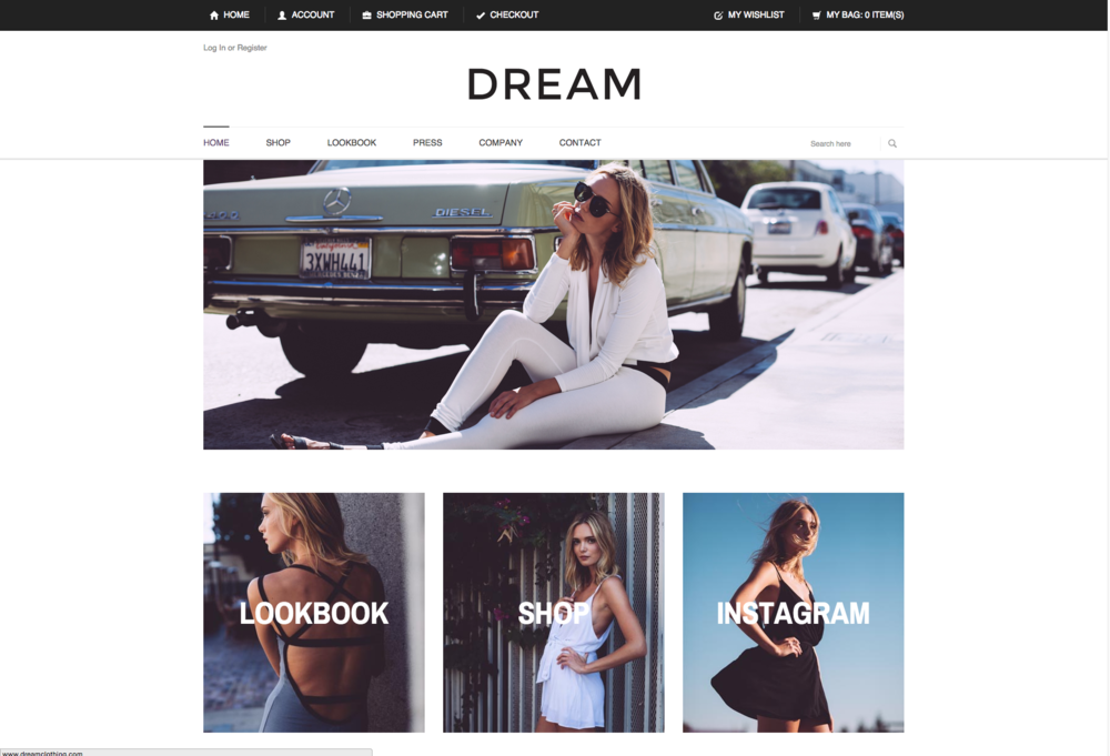 DREAM LOS ANGELES    Website copy      Dream Los Angeles is an up-and-coming clothing separates line with big aspirations. Los Angeles-based Owner and Designer Luba Nourgalieva needed to create website copy with a youthful, hip feel that was evocative of brand's laid-back California vibe.    download   visit