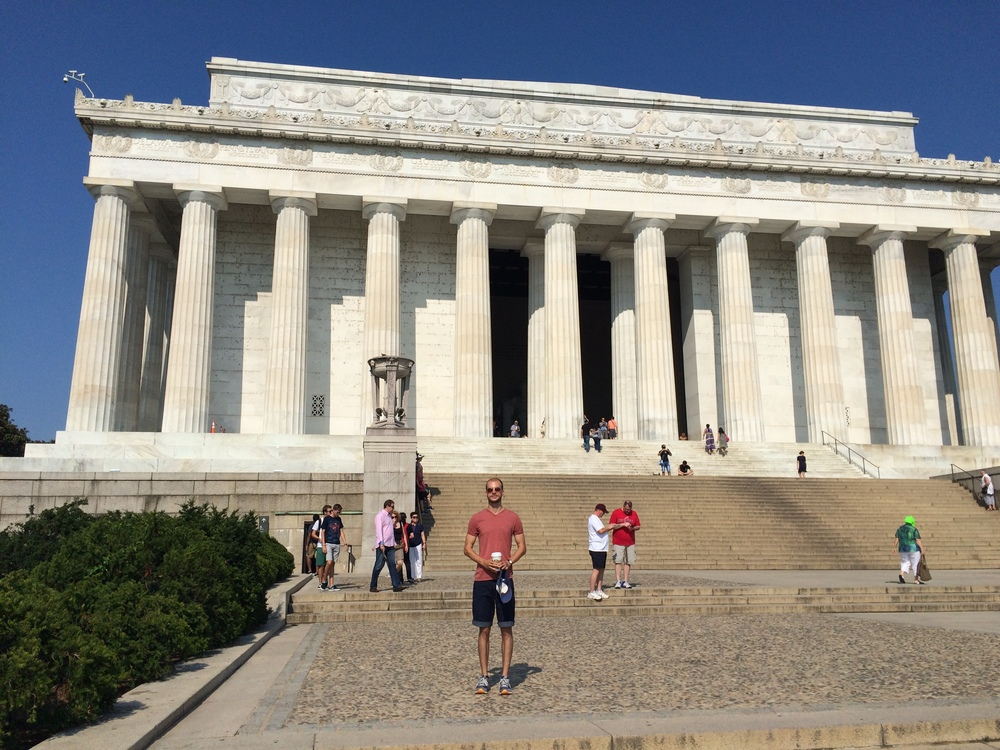 Lincoln Memorial with hot guy standing in front of it weirdly