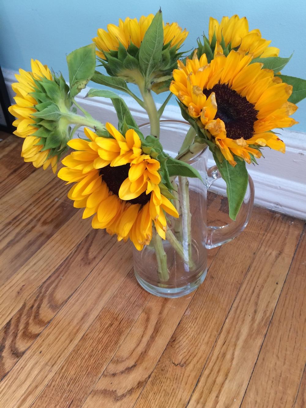 birthday sunflowers at thirty one