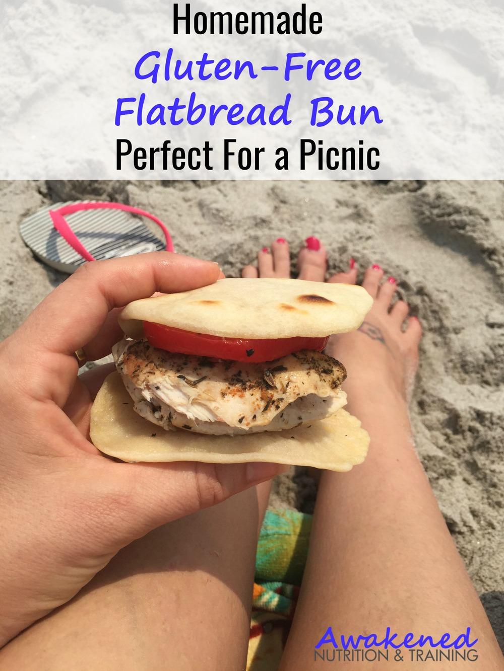Homemade Gluten-Free Flatbread Bun (soy, dairy, gluten & nut-free)
