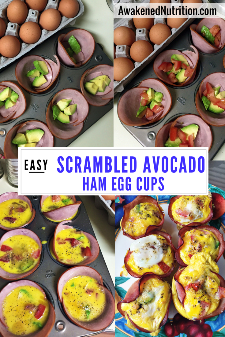 Easy Scrambled Avocado Ham Egg Cups