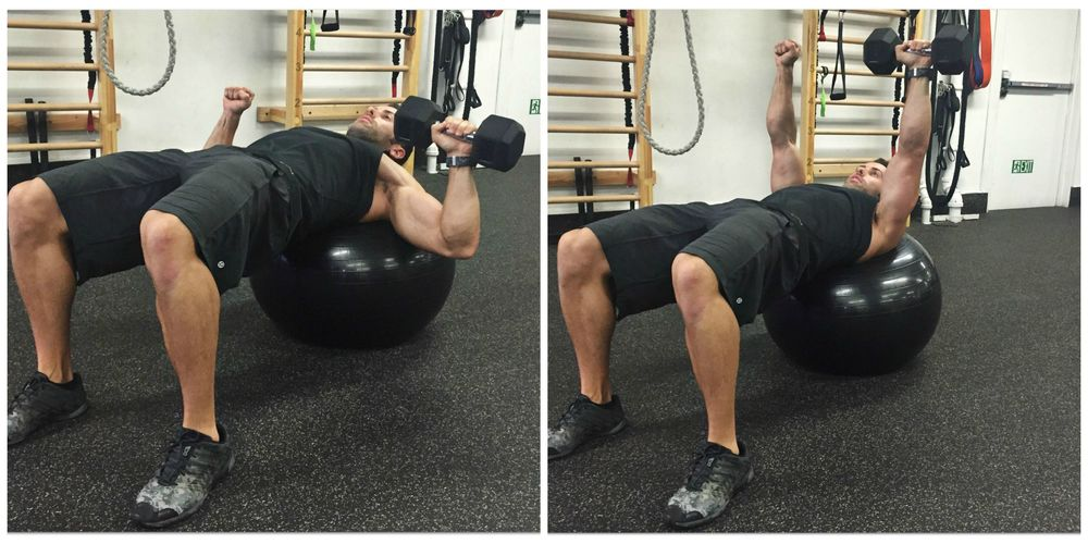 Single arm stability ball DB chest press