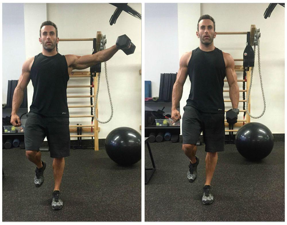 Standing single leg/single arm dumbbell side raise