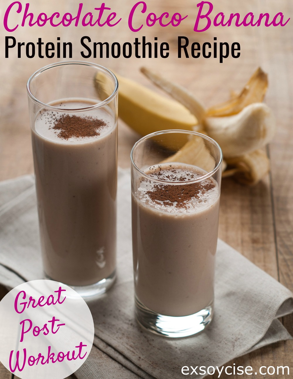 Chocolate coco banana protein smoothie - great post-workout treat!