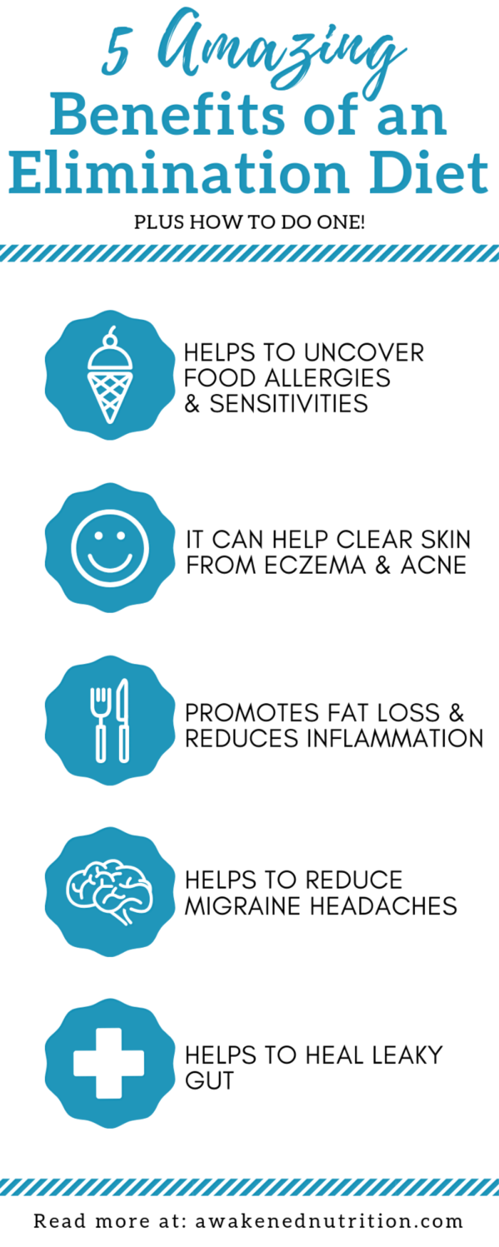 Learn 5 benefits of doing an elimination diet to improve your health, clear your skin and heal your gut. Discover why an elimination diet is important plus how it works.