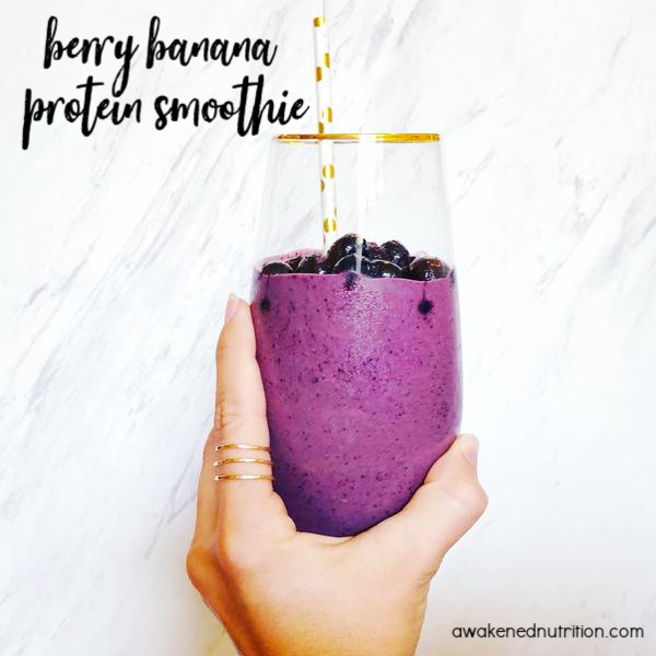 This Berry Banana Protein Smoothie is the perfect egg-free breakfast to eat while on an elimination diet.