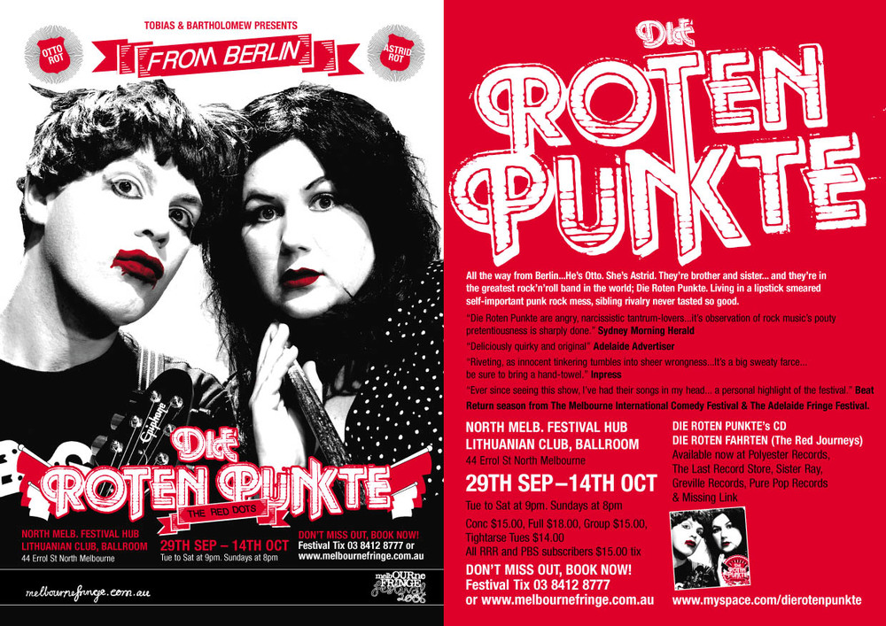 'Die Roten Punkte' First Show - extensive tours throughout Australia and Internationally