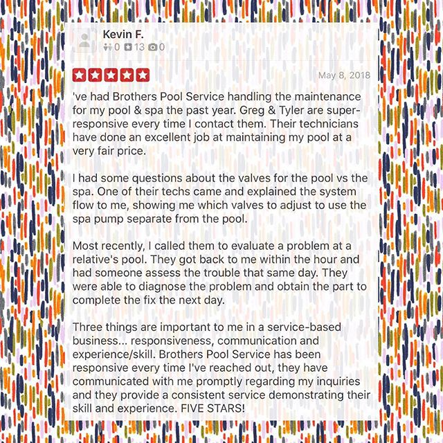 🙌🏻 Thank you, Kevin! It means alot when a customer takes the time to write such good feedback. Great team equals happy customers! #Brothers #Yelp #Feedback