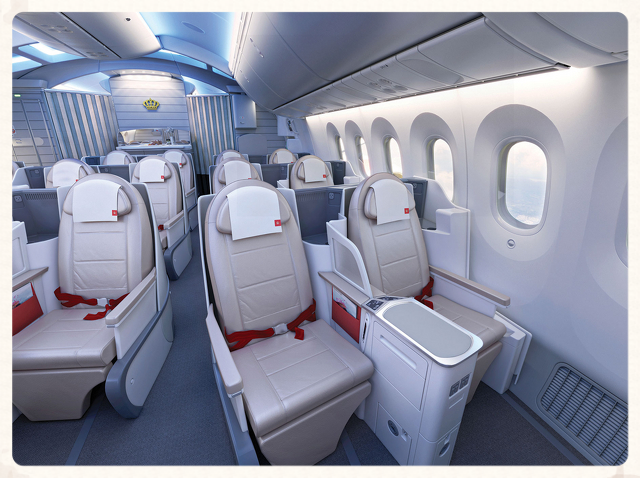 Boeing 787 Business Cabin with Lie Flat Sky Bed Seats