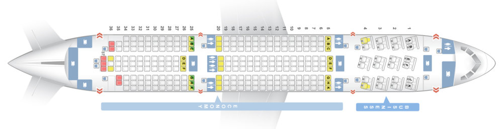 "BOEING 787-800   24C - Fully Lie Flat Sky Bed Seats with 70"" of Seat Pitch. Personal Large AVOD, at seat AC & USB power.  246Y - Economy Seats with 32"" of Seat Pitch, AVOD & USB power"