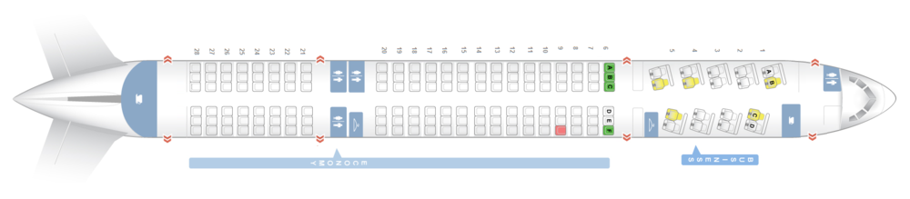"""BOEING 757-200 - NEW CABIN   18 C - Fully Lie Flat Business Class Seats with HD 24"""" AVOD, USB & AC Power  138 Y - Economy Class Seats with HD AVOD & USB Power"""