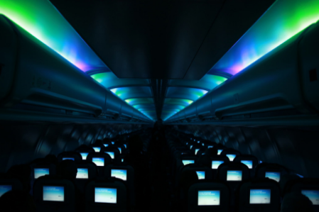 Get in the mood -New LED mood lighting complements sky conditions and sets a soothing cabin environment