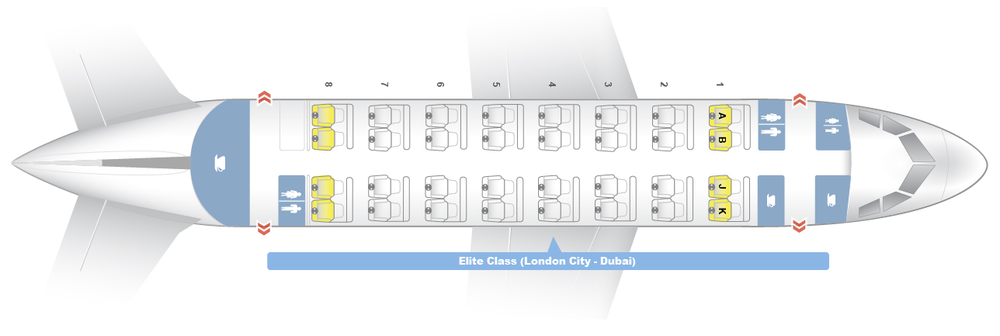 """Airbus A318 Elite Class Configuration 32 C - Elite Class Sky bed seats with 70""""+ pitch & USB/AC power at all seats. Large personal entertainment system. Overwing exit located on both sides of row 4."""