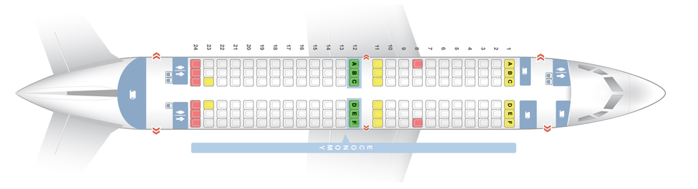 "Boeing 737-700 ONE CLASS (73G)   144Y - Economy Seats with 30"" minimum  Row 12 has extra Leg room - pre-bookable as extra space seats - this row is adjacent to an Emergency Exit"