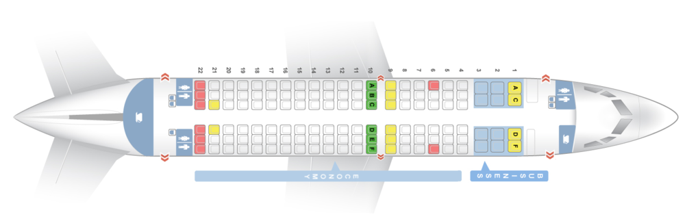 "Boeing 73W & 73E   12 C - Business Class Seats - deep recline, extra wide, foot rest, large table with AC & USB power. Personal HD AVOD system.  114 Y - Economy Seats with 31"", seat back AVOD & USB power.   Row 4 & 10 have additional leg room (Row 10 is situated on an emergency exit row) - pre-bookable as extra space seats"