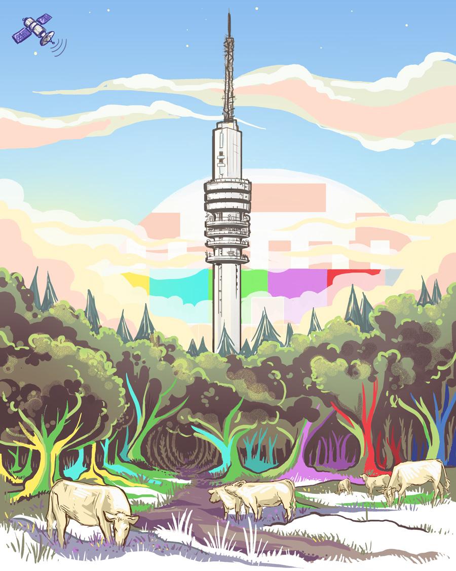 testbeeld als een zonsondergang. Het klassieke uitzicht van de televisie toren vanuit de heide in Hilversum Noord. De primaire kleuren vloeien door naar de bomen.