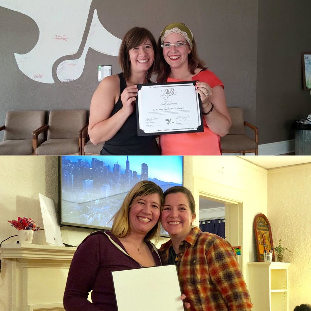 Top: Emily receiving her LSCC certificate in 2015 Bottom: Emily receiving the MIllard Servant Leadership Award in January 2019