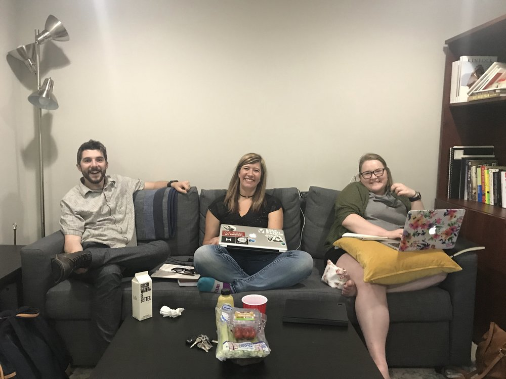 Will Smith, Emily Hathway, and Aubrey Baker. Doing life together. Coworking in Indianapolis at Reformer House.