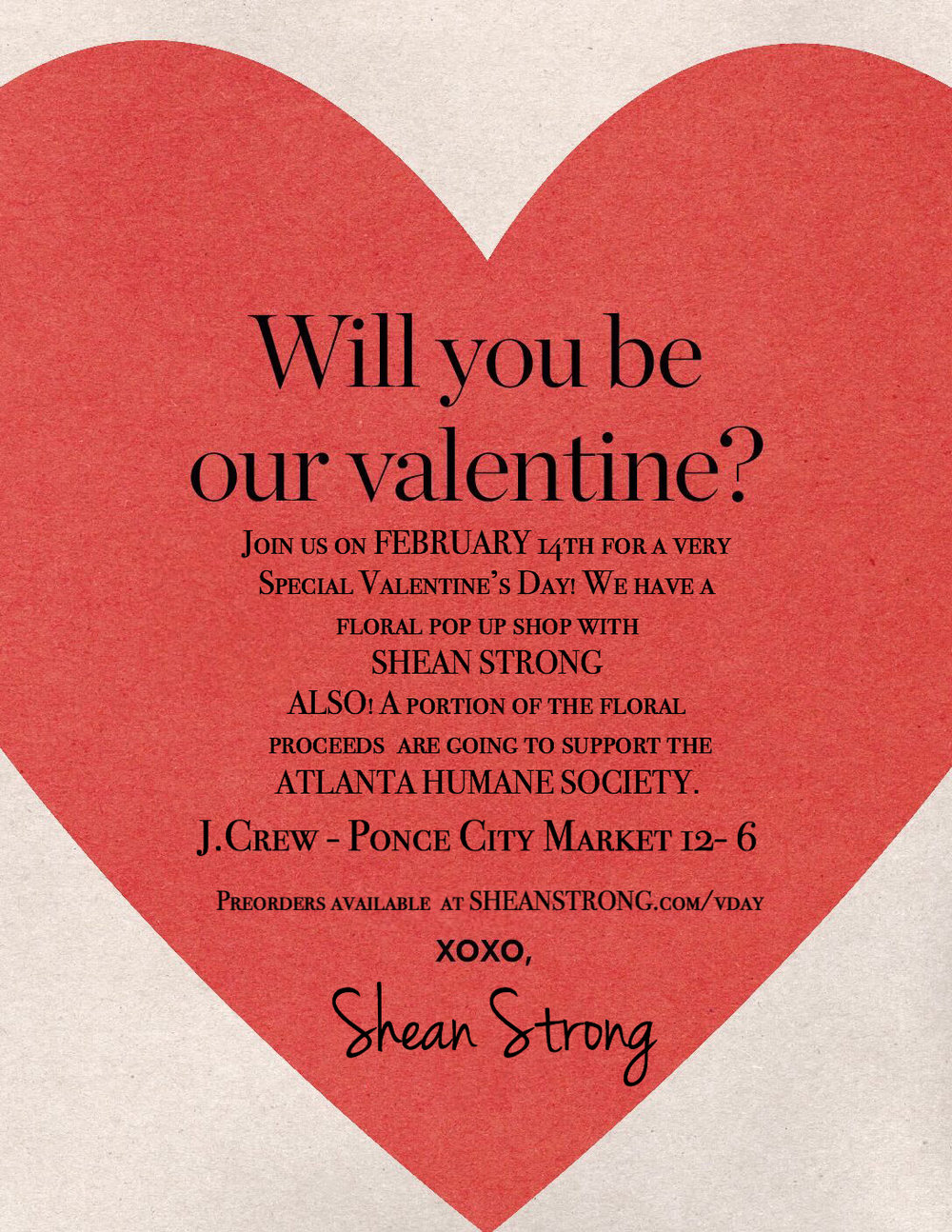 J.Crew Valentines Day Pop-Up - Join me and J.Crew for a celebration on February 14th for a Valentine's Day FLORAL POP UP Shop!European inspired hand-tied bouquets wrapped and tied with a bow and love!Whether you're crushing it, dating, liking, or loving- We've got a gift for your valentine! PLUS-  A portion of the proceeds are going to support puppies... I mean. You heard that right... Your support is going to also support the Atlanta Humane Society- Thanks for loving our furry friends! Bouquets are available for pick up at JCrew @Ponce City Market between 12 + 6.