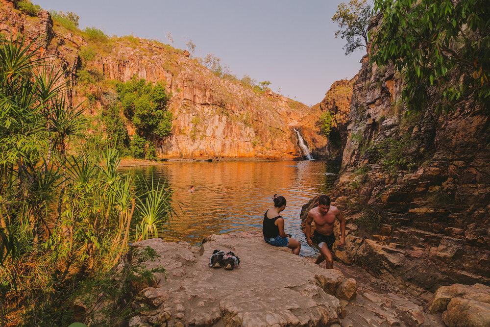 On to Kakadu: Maguk waterhole. Full of fish and croc-free!
