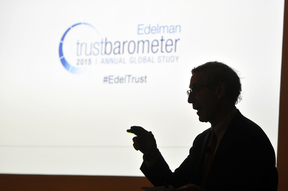 Richard Edelman, President & CEO of Edelman, discusses the 2015 Trust Barometer in front of a San Francisco audience Feb. 12, 2015.