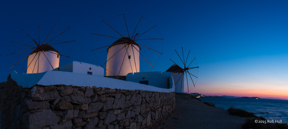 Windmills on Mykonos, Greece.