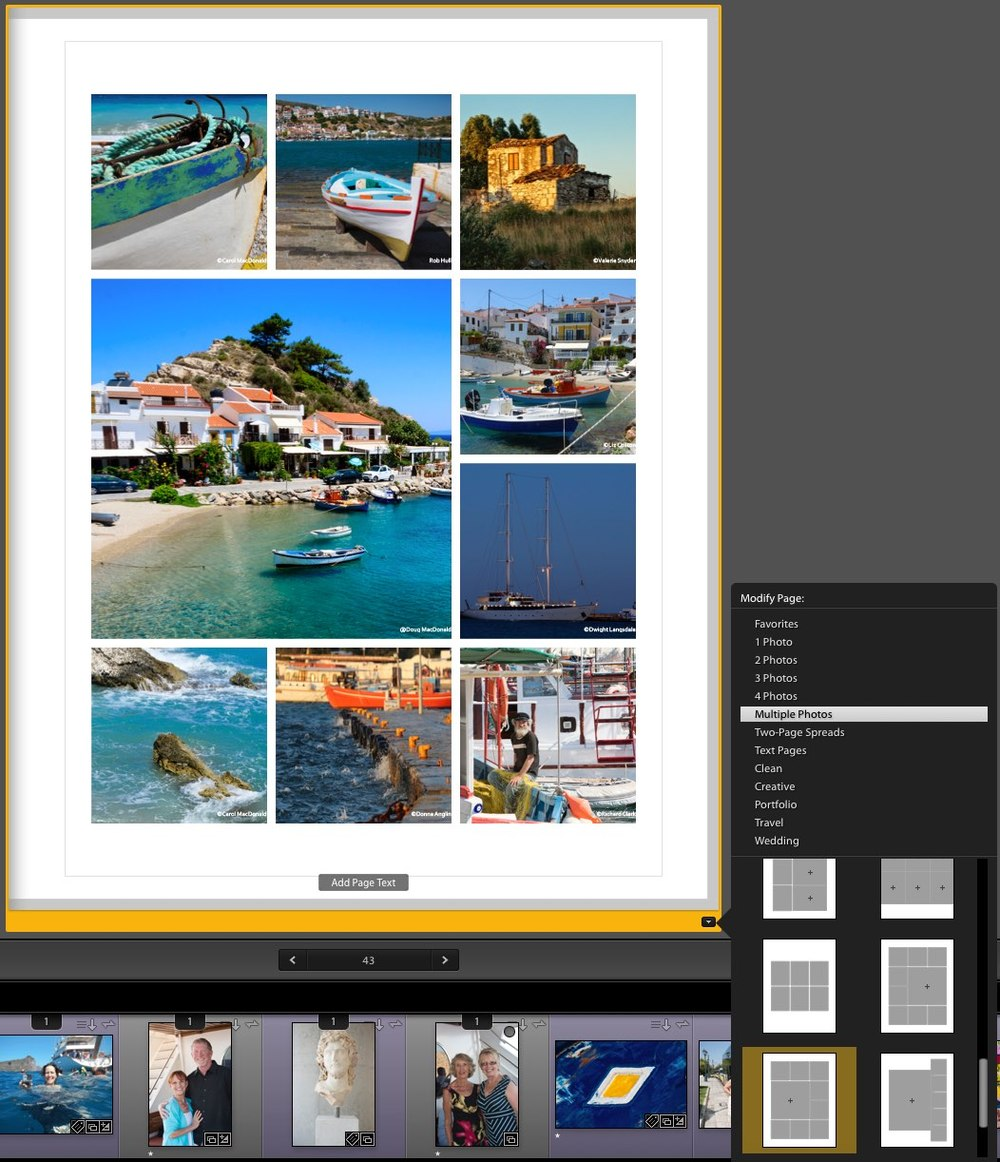 For each page you can select from a wide variety of pre-designed pages.