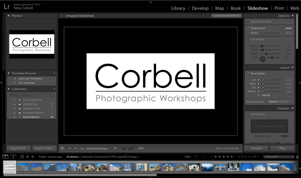 The overall interface can be seen of the Slide Show Module in Lightroom