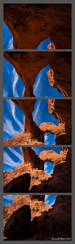 Five frames used to create a stitched panoramic photograph of Double Arch. The bottom image is directly in front of me and slightly below. The top image is directly behind me level with the horizon. Over 180° from one end to the other.
