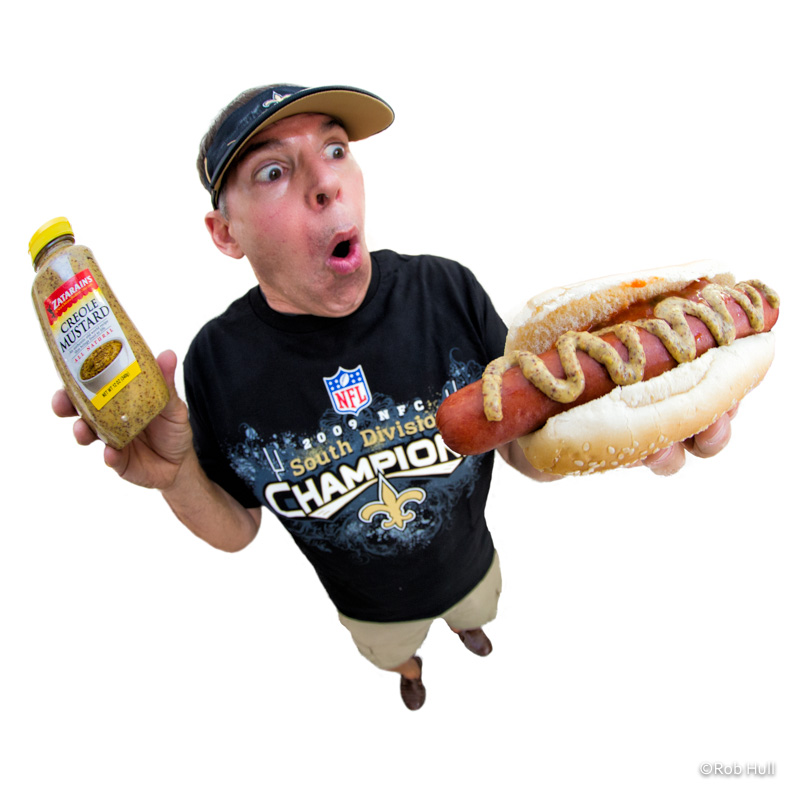 I used a fisheye lens to really exaggerate the perspective of this image. After all, the star is really the hot dog.