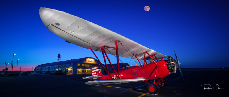 When I walked out to photograph this plane, the moon was up but the original image just had a small white dot. I simply replaced the small dot with a full moon image.