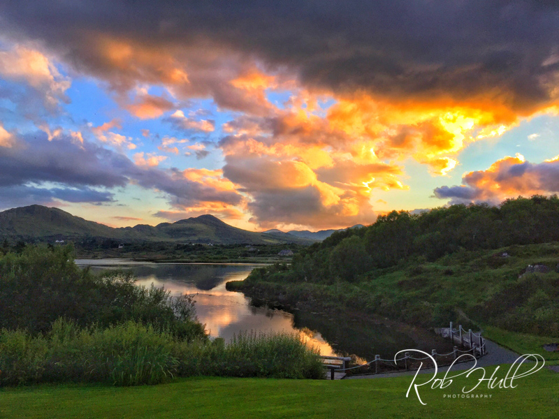 Sunset from our rooms in Sneem, Ireland. This was a great hotel and the rooms and the restaurant overlooked the lake. We didn't have to go far for a spectacular view.