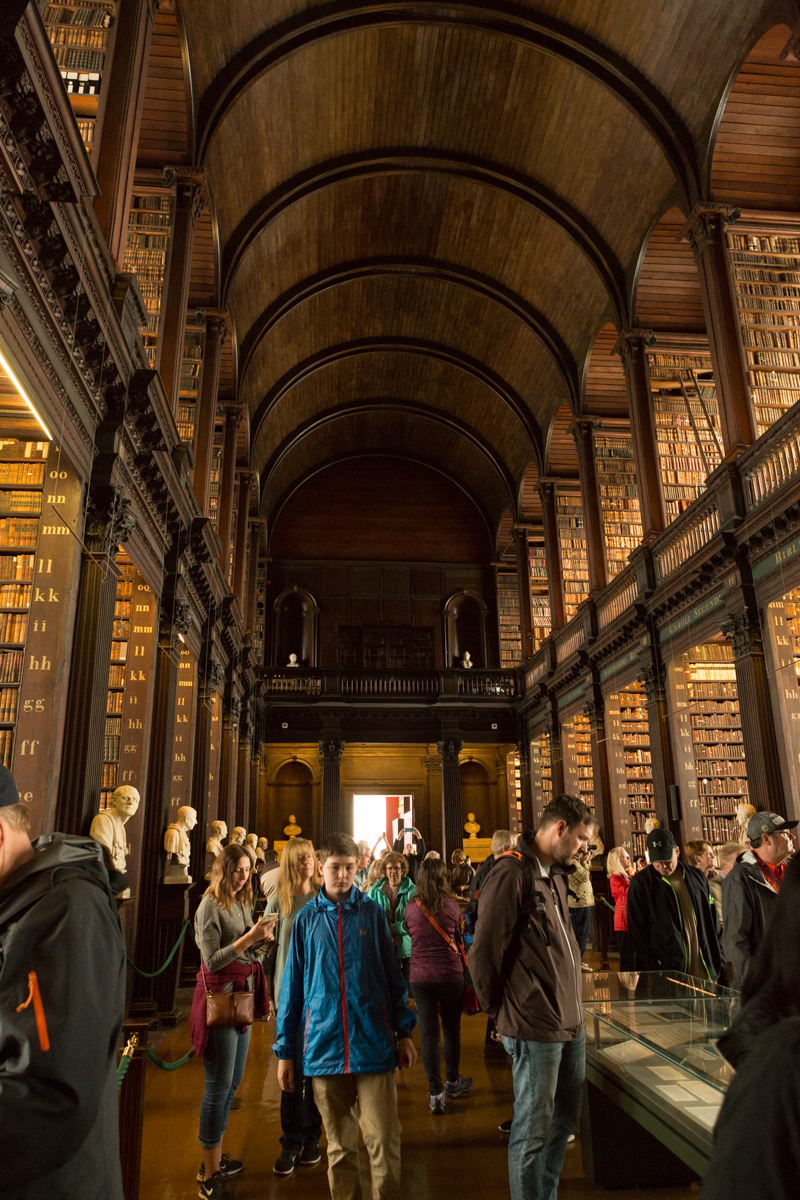 Am amazing place and the inspiration for many scenes in Harry Potter series. Inside Trinity College in Dublin for a visit to the Book of Kells.  Just too many people in the Long Hall.