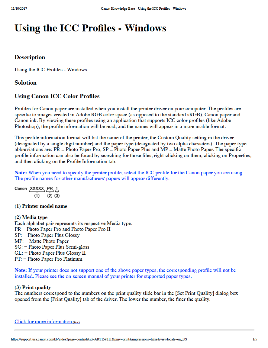 Canon ICC Profiles