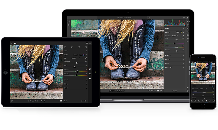©Adobe - Illustration showing Adobe Lightroom CC used across platforms - from desktop to web and your mobile devices.