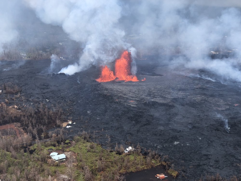 Photo by US Geologic Survey. Showing fisure #8 lava fountain.