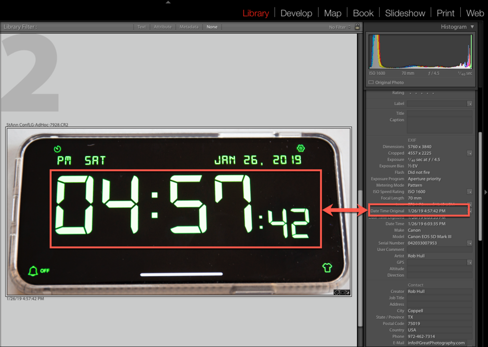 Using a photo of the correct time, you can adjust the capture date and time metadata to the correct time.