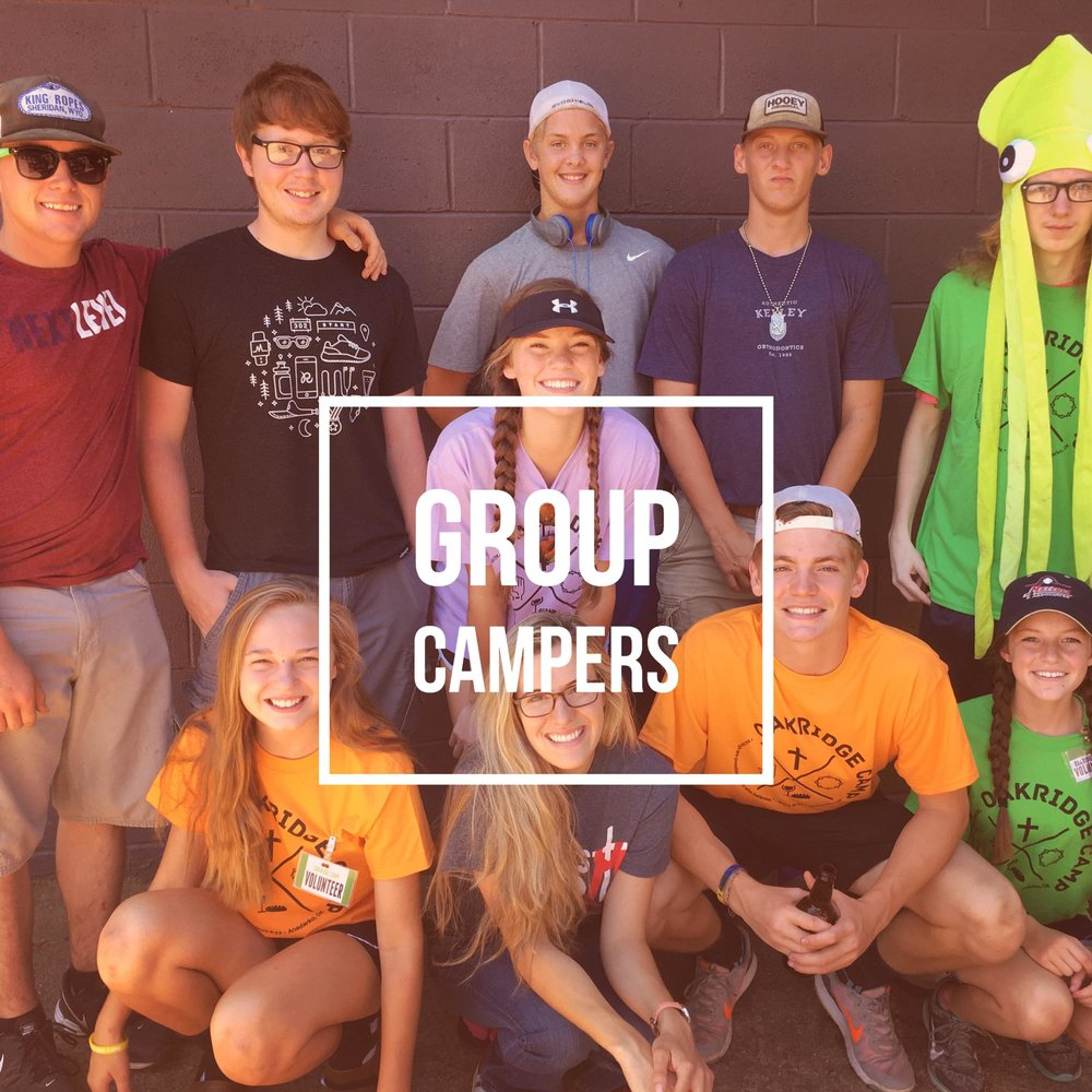 Click above to get information about group r  egistration! Intended for groups of at least 10 people, with your group providing adult counselors for the entire camp experience.