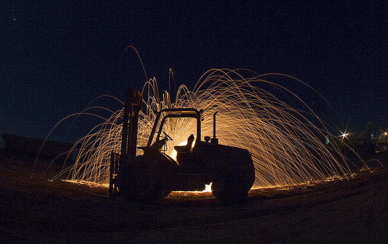 Forklift with steel wool
