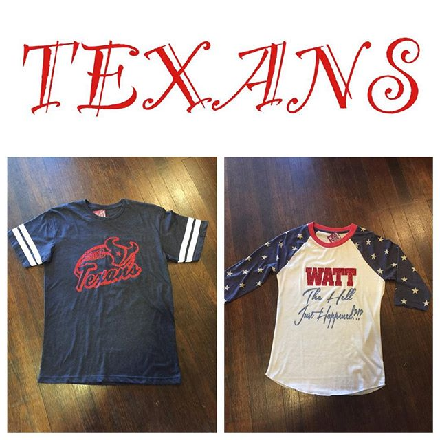 We have TEXANS shirts!!! Come check us out this weekend! We're having a party on the patio with great sales and don't forget the yummy bake sale benefiting an amazing organization, Texas Animal Society and sweet pup Charity.  Happy Hour 3pm-4pm!! The annual autumn wine fest is this weekend, taste some great Texas wines and then come see us, we are right next door!! #southernglitzandglam #oldtownspring #doglovers #boutique #wine