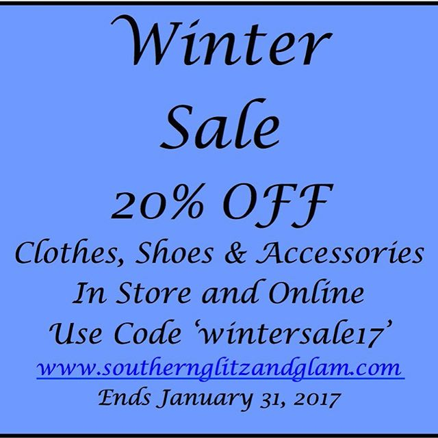 Stop in or check us out online. Winter Sale happening now through 1/31. Www.southernglitzandglam.com  #sale #southernglitzandglam #shopsmall #shopoldtownspring #boutique