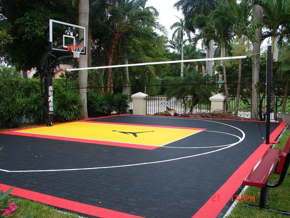 Hoop systems rhino courts for Home basketball court cost