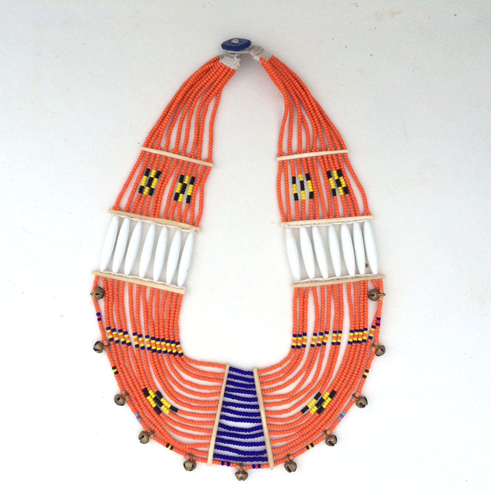 ORANGE + BLUE NAGA COLLAR NECKLACE                                         $165