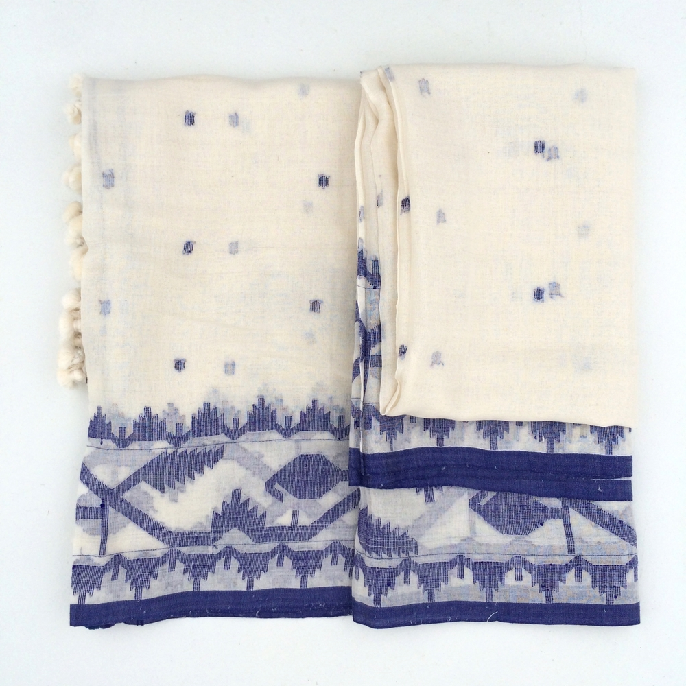 BLUE EMBROIDERED COTTON SCARF                                 $235