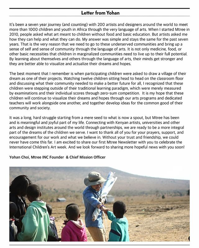 And lastly, a letter from our Founder and Chief Mission Officer, Young Hwan Choi, who has worked tirelessly from the start to make the arts accessible to children and youth in Africa. . Please take a moment to read this letter in full! . #mtreeorg #mtree #hopeful #dreamful #buildingcommunity #arteducation #art #maya #kilifi #kenya #dream