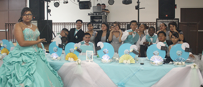 -quinceñera and her court.