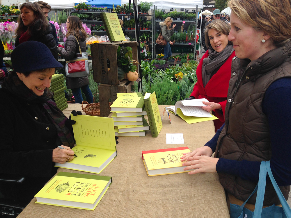 Meeting Alice Waters at her book signing for The Art of Simple Food II at the Union Square Greenmarket. Those rosy cheeks are real! I waited outdoors on a chilly November morning.